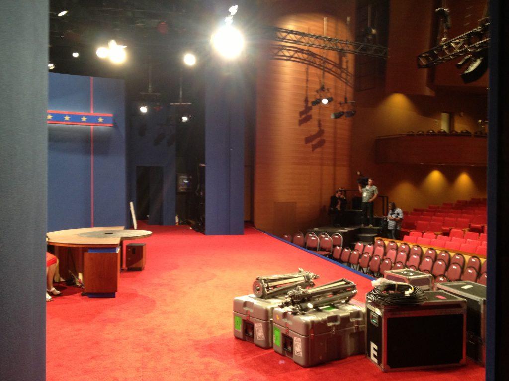 Dit is de plek waar vanaf de kandidaten opkomen. Dit is dus wat Obama zag voordat hij werd geïntroduceerd.
